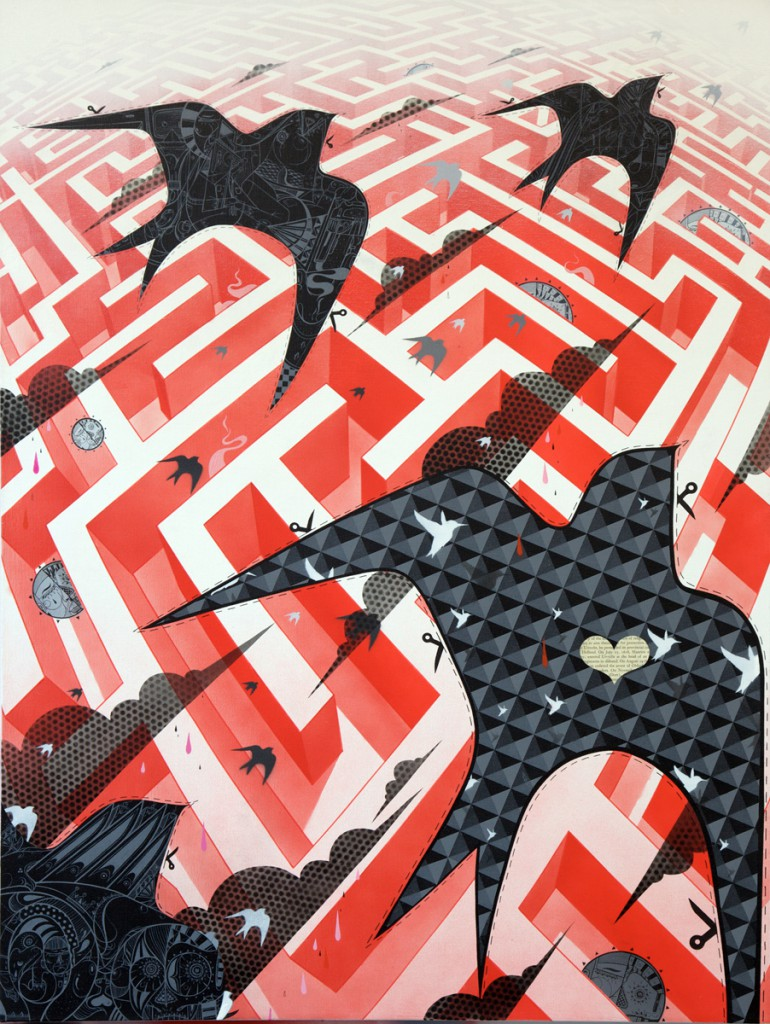 How & Nosm  &nbsp -  <strong>Dreaming is Free</strong> (2012<strong style = 'color:#635a27'></strong>)<bR /> spray paint, india ink, cel vinyl, collage on canvas,   40 x 60 x 1.5 inches  (101.6 x 76.2 x 3.81 cm)