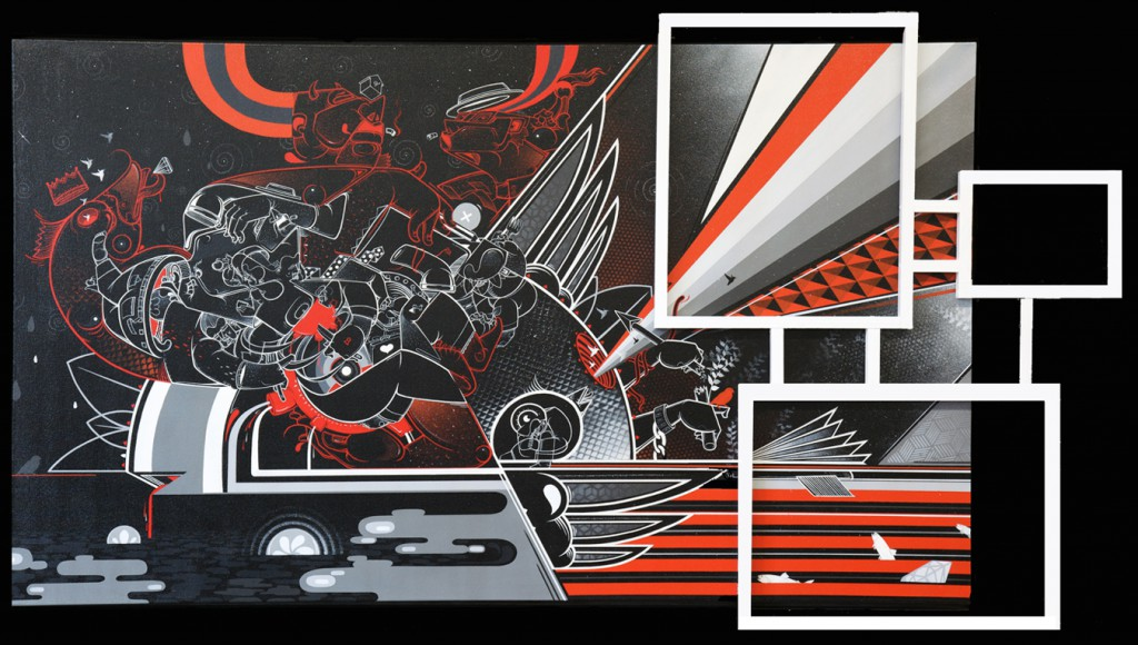 How & Nosm  &nbsp -  <strong>Enormous Sacrifice</strong> (2012<strong style = 'color:#635a27'></strong>)<bR /> spray paint, india ink, cel vinyl, collage, wood on canvas,   36 x 60 x 3.75 inches  (91.44 x 152.4 x 9.53 cm)