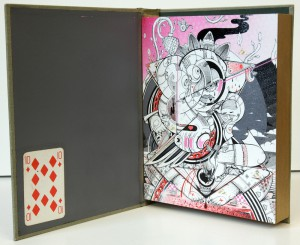 How & Nosm   -  <strong>First Commandment</strong> (2012<strong style = 'color:#635a27'></strong>)<bR /> spray paint, india ink, cel vinyl, collage on wood,   10 x 8 x 2 inches  (25.4 x 20.32 x 5.08 cm)