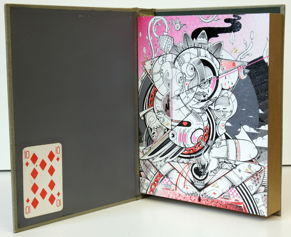 How & Nosm  &nbsp -  <strong>First Commandment</strong> (2012<strong style = 'color:#635a27'></strong>)<bR /> spray paint, india ink, cel vinyl, collage on wood,   10 x 8 x 2 inches  (25.4 x 20.32 x 5.08 cm)