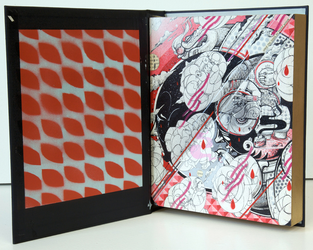 How & Nosm  &nbsp -  <strong>Fourth Commandment</strong> (2012<strong style = 'color:#635a27'></strong>)<bR /> spray paint, india ink, cel vinyl, collage on wood,   10 x 8 x 2 inches  (25.4 x 20.32 x 5.08 cm)