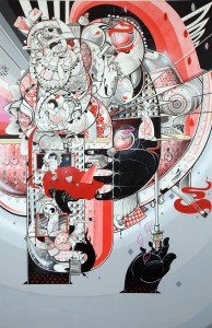 How & Nosm   -  <strong>Fragile Moments</strong> (2012<strong style = 'color:#635a27'></strong>)<bR /> spray paint, india ink, cel vinyl, collage on canvas,   72 x 36 x 1 inches  (182.88 x 91.44 x 2.54 cm)