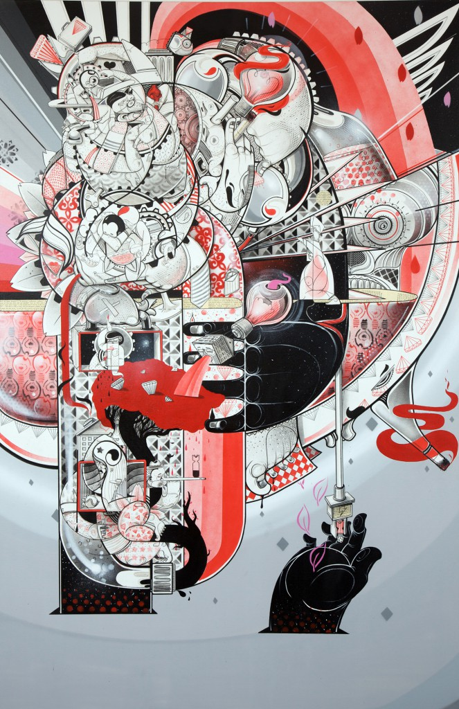 How & Nosm  &nbsp -  <strong>Fragile Moments</strong> (2012<strong style = 'color:#635a27'></strong>)<bR /> spray paint, india ink, cel vinyl, collage on canvas,   72 x 36 x 1 inches  (182.88 x 91.44 x 2.54 cm)