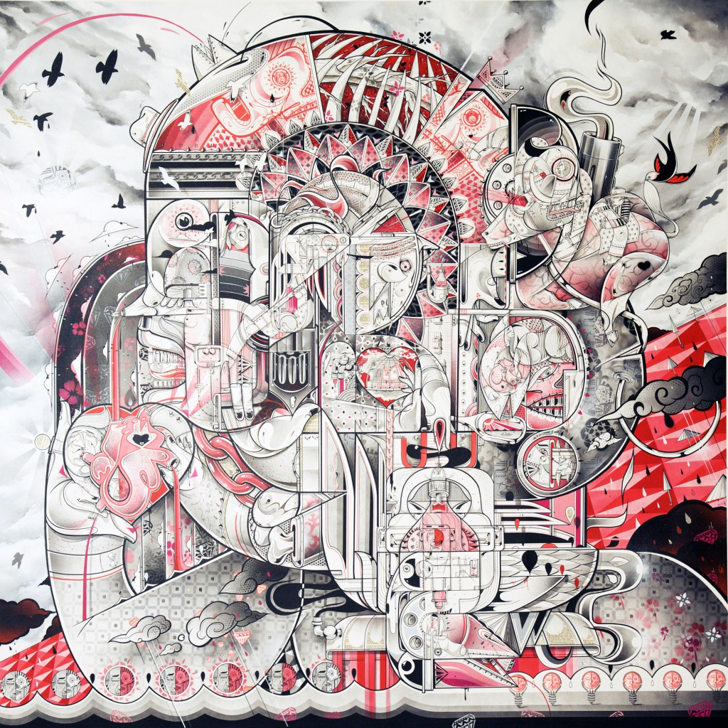 How & Nosm  &nbsp -  <strong>Head Lines</strong> (2012<strong style = 'color:#635a27'></strong>)<bR /> spray paint, india ink, cel vinyl, collage on canvas,   74 x 74 x 1 inches  (187.96 x 187.96 x 2.54 cm)