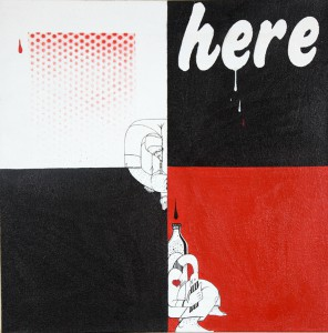 How & Nosm   -  <strong>Here to Drink</strong> (2009<strong style = 'color:#635a27'></strong>)<bR /> spray paint, india ink, cel vinyl, collage on canvas,   20 x 20 x 1.5 inches  (50.8 x 50.8 x 3.81 cm)