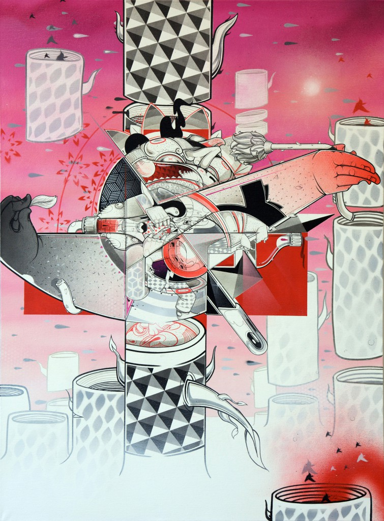 How & Nosm  &nbsp -  <strong>Indecisive Moment</strong> (2012<strong style = 'color:#635a27'></strong>)<bR /> spray paint, india ink, cel vinyl, collage on canvas,   40 x 30 x 1.5 inches  (101.6 x 76.2 x 3.81 cm)
