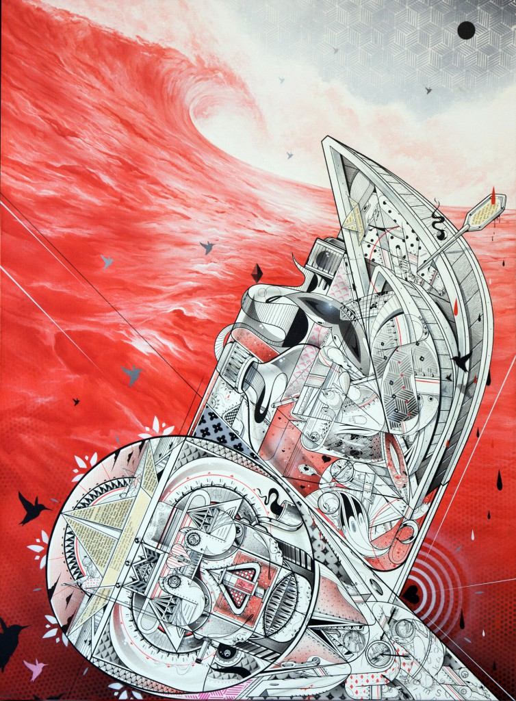 How & Nosm  &nbsp -  <strong>Like Drawing Blood</strong> (2012<strong style = 'color:#635a27'></strong>)<bR /> spray paint, india ink, cel vinyl, collage on canvas,   40 x 30 x 1.5 inches  (101.6 x 76.2 x 3.81 cm)