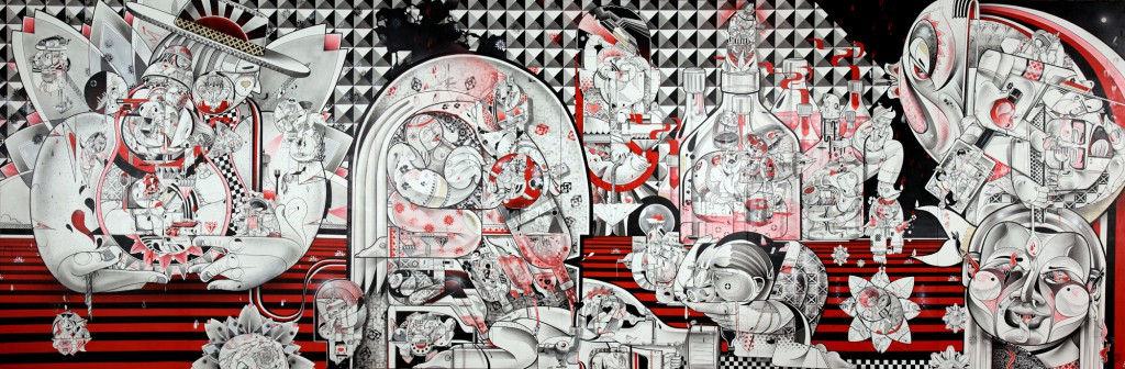How & Nosm  &nbsp -  <strong>Live and Tell</strong> (2012<strong style = 'color:#635a27'></strong>)<bR /> spray paint, india ink, cel vinyl, collage on canvas,   96 x 288 x 1 inches  (243.84 x 731.52 x 2.54 cm)