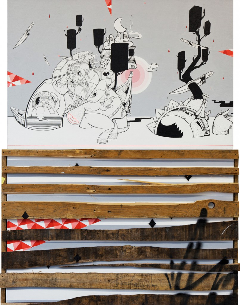 How & Nosm  &nbsp -  <strong>Midnight Mausoleum</strong> (2012<strong style = 'color:#635a27'></strong>)<bR /> spray paint, india ink, cel vinyl, collage, wood on canvas,   40 x 30 x 3.625 inches  (101.6 x 76.2 x 9.21 cm)