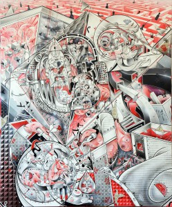 How & Nosm   -  <strong>Never Ending Story</strong> (2012<strong style = 'color:#635a27'></strong>)<bR /> spray paint, india ink, cel vinyl, collage on canvas,   72 x 60 x 1 inches  (182.88 x 152.4 x 2.54 cm)