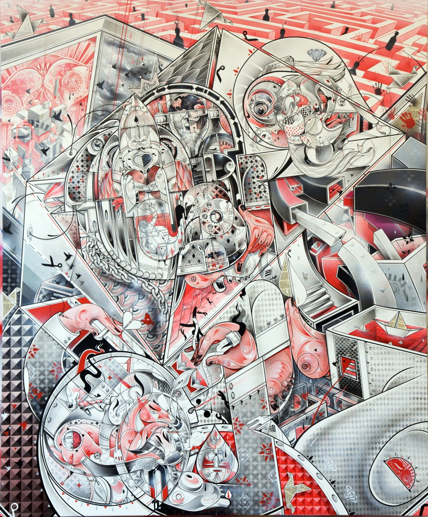 How & Nosm  &nbsp -  <strong>Never Ending Story</strong> (2012<strong style = 'color:#635a27'></strong>)<bR /> spray paint, india ink, cel vinyl, collage on canvas,   72 x 60 x 1 inches  (182.88 x 152.4 x 2.54 cm)