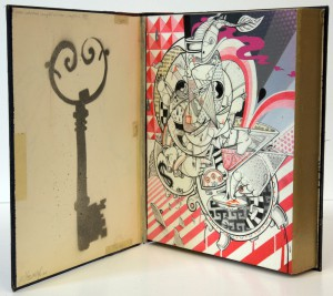 How & Nosm   -  <strong>Ninth Commandment</strong> (2012<strong style = 'color:#635a27'></strong>)<bR /> spray paint, india ink, cel vinyl, collage on wood,   10 x 8 x 2 inches  (25.4 x 20.32 x 5.08 cm)