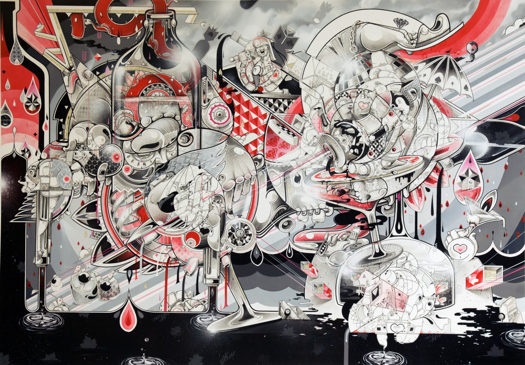 How & Nosm  &nbsp -  <strong>Old Days Celebration</strong> (2012<strong style = 'color:#635a27'></strong>)<bR /> spray paint, india ink, cel vinyl, collage on canvas,   62 x 88 x 1 inches  (157.48 x 223.52 x 2.54 cm)