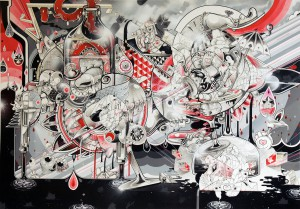 How & Nosm    -  <strong>Old Days Celebration</strong> (2012<strong style = 'color:#635a27'></strong>)<bR /> spray paint, india ink, cel vinyl, collage on canvas,   62 x 88 x 1 inches  (157.48 x 223.52 x 2.54 cm)