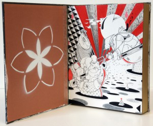 How & Nosm   -  <strong>Seventh Commandment</strong> (2012<strong style = 'color:#635a27'></strong>)<bR /> spray paint, india ink, cel vinyl, collage on wood,   10 x 8 x 2 inches  (25.4 x 20.32 x 5.08 cm)