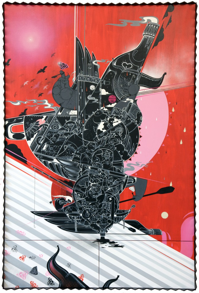 How & Nosm  &nbsp -  <strong>Soul Searching</strong> (2012<strong style = 'color:#635a27'></strong>)<bR /> spray paint, india ink, cel vinyl, collage on canvas,   72 x 48 inches  (182.88 x 121.92 cm)