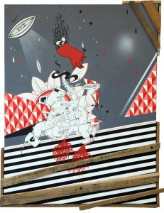 How & Nosm   -  <strong>Struggle for Acceptance</strong> (2012<strong style = 'color:#635a27'></strong>)<bR /> spray paint, india ink, cel vinyl, collage, wood on canvas,   40 x 30 x 2.75 inches  (101.6 x 76.2 x 7 cm)