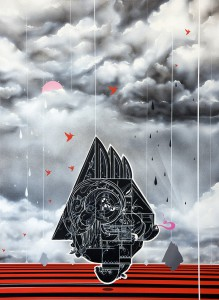 How & Nosm    -  <strong>Sun Days</strong> (2012<strong style = 'color:#635a27'></strong>)<bR /> spray paint, india ink, cel vinyl, collage on canvas,   40 x 30 x 1.5 inches  (101.6 x 76.2 x 3.81 cm)