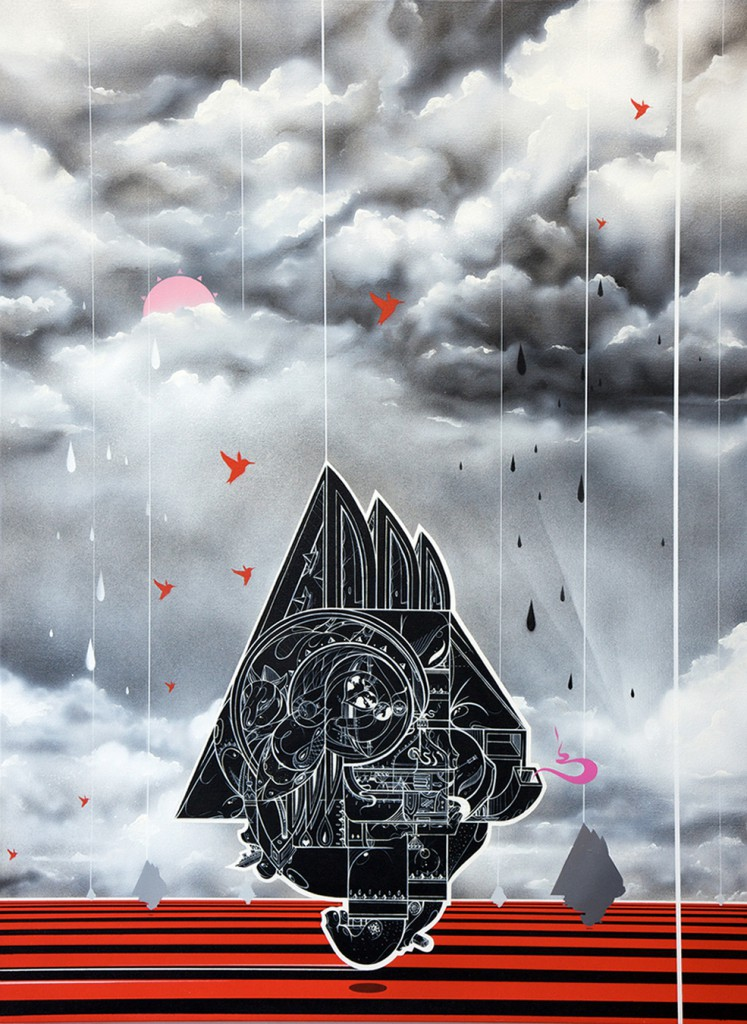 How & Nosm  &nbsp -  <strong>Sun Days</strong> (2012<strong style = 'color:#635a27'></strong>)<bR /> spray paint, india ink, cel vinyl, collage on canvas,   40 x 30 x 1.5 inches  (101.6 x 76.2 x 3.81 cm)