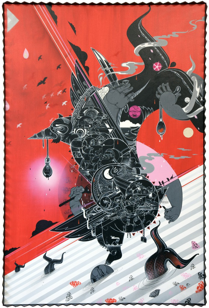 How & Nosm  &nbsp -  <strong>The Abyss of Our Soul</strong> (2012<strong style = 'color:#635a27'></strong>)<bR /> spray paint, india ink, cel vinyl, collage on canvas,   72 x 48 inches  (182.88 x 121.92 cm)