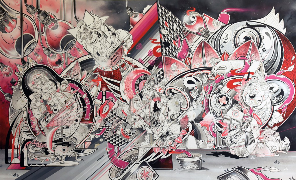 How & Nosm  &nbsp -  <strong>The Light Burden of Trust</strong> (2012<strong style = 'color:#635a27'></strong>)<bR /> spray paint, india ink, cel vinyl, collage on canvas,   64 x 106 x 1 inches  (162.56 x 269.24 x 2.54 cm)