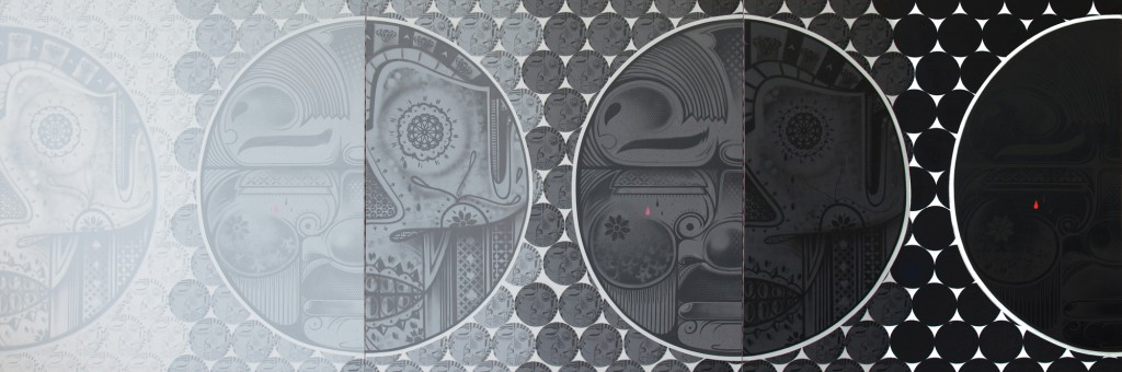 How & Nosm  &nbsp -  <strong>Transitions</strong> (2012<strong style = 'color:#635a27'></strong>)<bR /> spray paint, india ink, cel vinyl, collage on canvas,   48 x 144 x 1.5 inches  (121.92 x 365.76 x 3.81 cm)