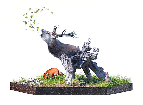 Josh  Keyes -  <strong>Howl</strong> (2009<strong style = 'color:#635a27'></strong>)<bR /> acrylic on panel,   30 x 40 inches  (76.2 x 101.6 cm)