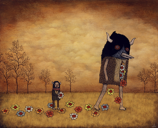 Andy  Kehoe -  <strong>Humanity Returns</strong> (2009<strong style = 'color:#635a27'></strong>)<bR /> acrylic and oil on panel,   16 x 20 inches
