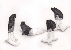 Hyuro   -  <strong>Untitled 1</strong> (2011<strong style = 'color:#635a27'></strong>)<bR /> ink on paper,   12.75 x 18 inches  (32.39 x 47.72 cm)