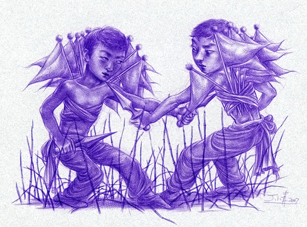 """Xiaoqing  Ding -  <strong>I and I (drawing)</strong> (2007<strong style = 'color:#635a27'></strong>)<bR /> Ballpoint Pen on Paper,   Image Size: 9 x 11 inches,   <span style=""""font-family: Helvetica;"""">Framed size: 13 1/2 x 16 inches</span>"""
