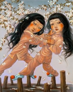"""Xiaoqing  Ding -  <strong>I and I</strong> (2007<strong style = 'color:#635a27'></strong>)<bR /> Pastel on Paper,  <p class=""""MsoNormal""""><span style=""""font-family: Helvetica;"""">Image size: 40 x 32 inches,   </span>,  <p class=""""MsoNormal""""><span style=""""font-family: Helvetica;"""">Framed size: 41 x 33 inches</span>,  <p class=""""MsoNormal""""><span style=""""font-family: Helvetica;"""">,   </span>"""