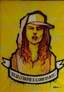 Hamilton  Yokota (Titi Freak) -  <strong>Seja Firme e Confiante</strong> (2006<strong style = 'color:#635a27'></strong>)<bR /> Mixed Media on Canvas,   86 x 62 inches
