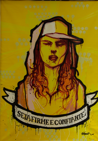 Hamilton  Yokota (Titi Freak) -  <strong>Seja Firme e Confiante</strong> (2006<strong style = 'color:#635a27'></strong>)<bR /> Mixed Media on Canvas,   86 x 62 inches