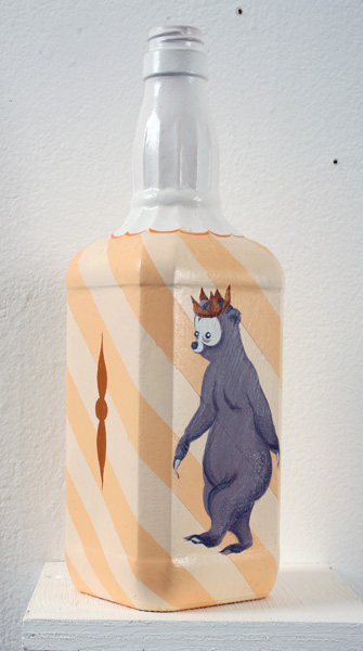 Matt  Haber -  <strong>The Lonely Bear</strong> (2007<strong style = 'color:#635a27'></strong>)<bR /> Acrylic on Bottle,   11 x 3 1/2 x 3 1/2 inches
