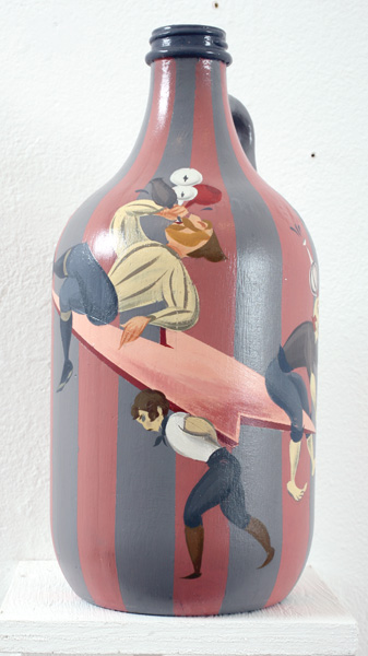Matt  Haber -  <strong>Moonshiners (left view)</strong> (2007<strong style = 'color:#635a27'></strong>)<bR /> Acrylic on Bottle,   12 x 6 x 6 inches