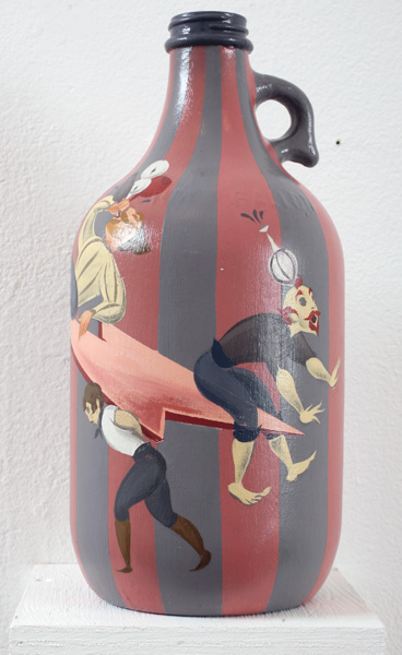 Matt  Haber -  <strong>Moonshiners (right view)</strong> (2007<strong style = 'color:#635a27'></strong>)<bR /> Acrylic on Bottle,   12 x 6 x 6 inches