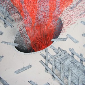 Andrew  Schoultz -  <strong>Broken Bridge with Mine</strong> (2006<strong style = 'color:#635a27'></strong>)<bR /> Acrylic on Wood,   18 1/2 x 18 1/2 inches