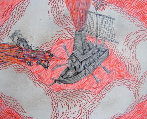 Andrew  Schoultz -  <strong>Slave Ship with Chimney</strong> (2006<strong style = 'color:#635a27'></strong>)<bR /> Acrylic on Wood,   16 1/2 x 20 1/2 inches