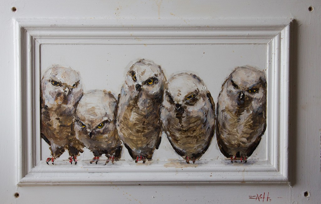 Ernest  Zacharevic -  <strong>Hoot</strong> (<strong style = 'color:#635a27'></strong>)<bR /> oil on canvas,   19.69 x 30.31 inches  (50 x 77 cm)