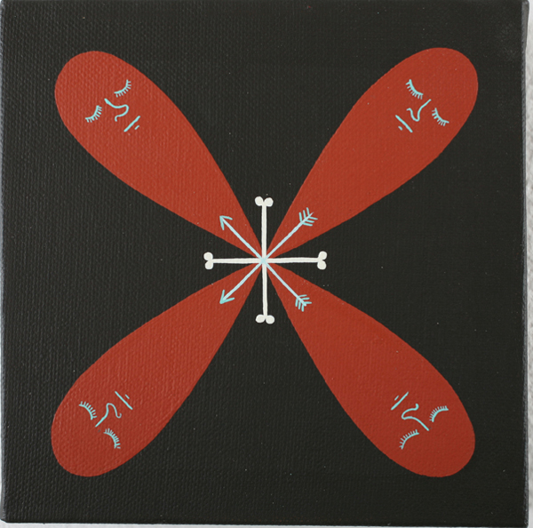 Jim  Houser -  <strong>Four Ghosts</strong> (2007<strong style = 'color:#635a27'></strong>)<bR /> Acrylic on canvas,   6 x 6 inches