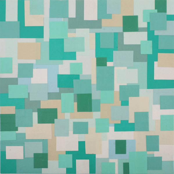 Jim  Houser -  <strong>Blue Green Particles</strong> (2007<strong style = 'color:#635a27'></strong>)<bR /> Acrylic and collage on wood,   8 x 8 inches