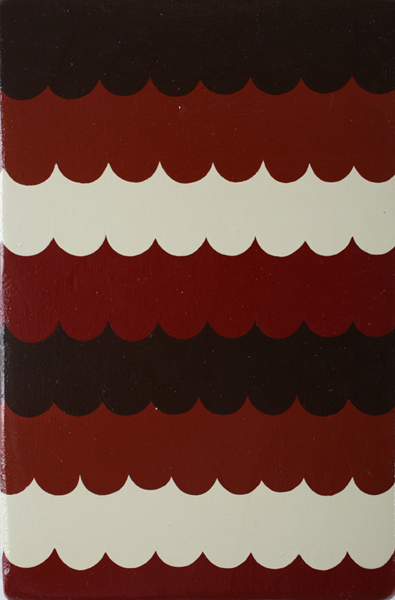 Jim  Houser -  <strong>Red Scallops</strong> (2007<strong style = 'color:#635a27'></strong>)<bR /> Acrylic on wood,   8 x 5 1/4 inches