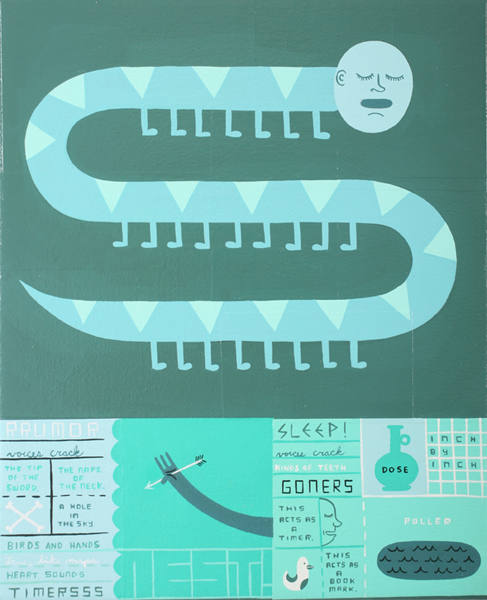 Jim  Houser -  <strong>Roller</strong> (2007<strong style = 'color:#635a27'></strong>)<bR /> Acrylic and collage on canvas,   9 x 11 inches