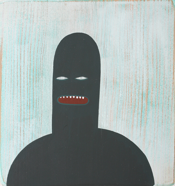 Jim  Houser -  <strong>It Doesn't</strong> (2007<strong style = 'color:#635a27'></strong>)<bR /> Acrylic on wood,   5 1/4 x 5 1/2 inches