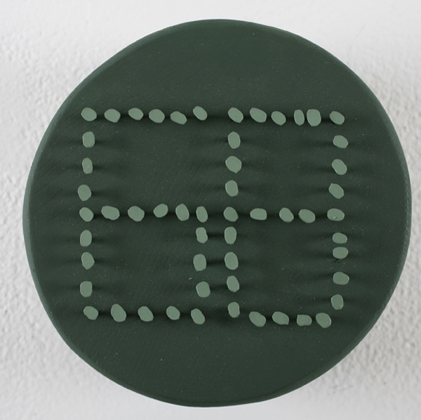 Jim  Houser -  <strong>Sixty Eight</strong> (2007<strong style = 'color:#635a27'></strong>)<bR /> Acrylic and nails on wood,   5 1/4 inches in diameter