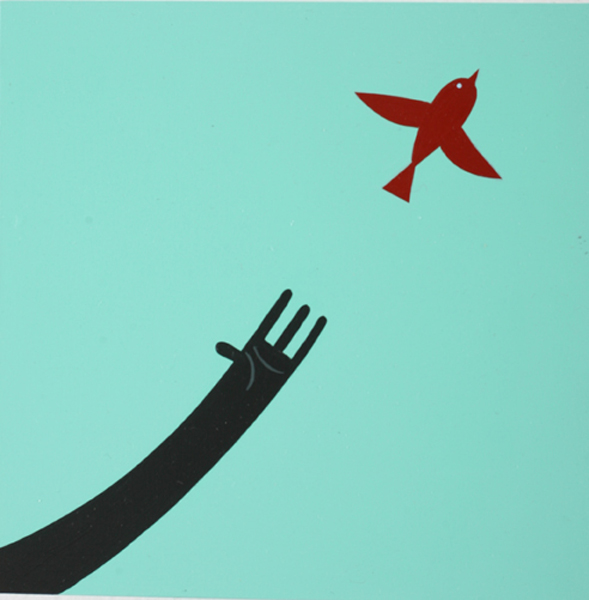 Jim  Houser -  <strong>Birds and Hands</strong> (2007<strong style = 'color:#635a27'></strong>)<bR /> Acrylic on wood,   5 x 5 inches