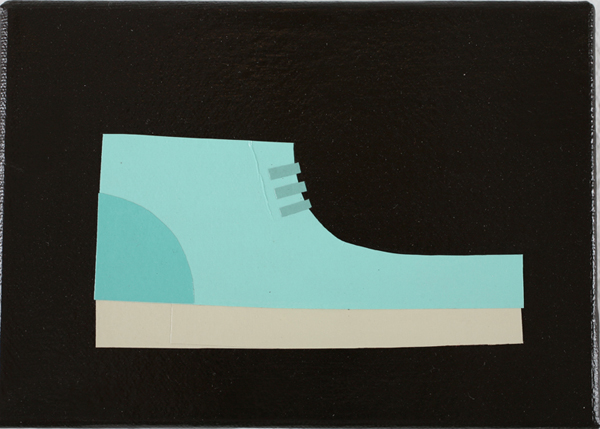 Jim  Houser -  <strong>Paper Wallabee</strong> (2007<strong style = 'color:#635a27'></strong>)<bR /> Acrylic and collage on canvas,   4 3/4 x 7 inches
