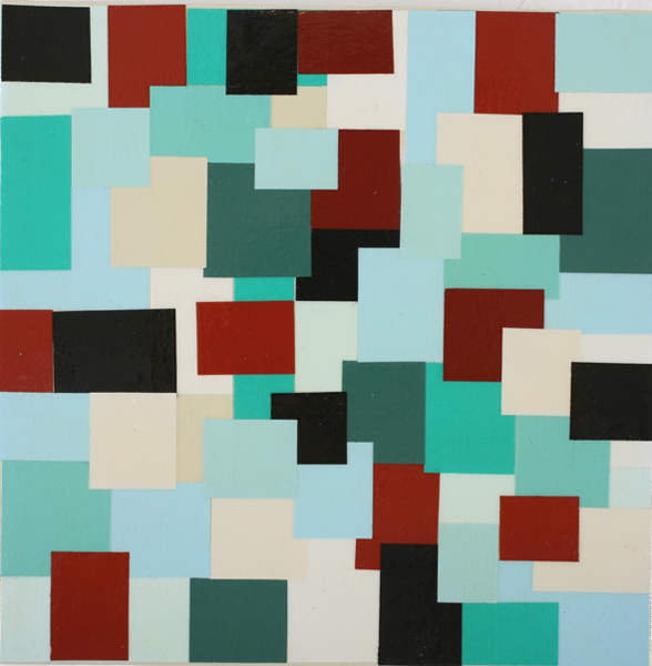 Jim  Houser -  <strong>Small Mixed Particles</strong> (2007<strong style = 'color:#635a27'></strong>)<bR /> Acrylic and collage on canvas,   6 3/4 x 6 3/4 inches