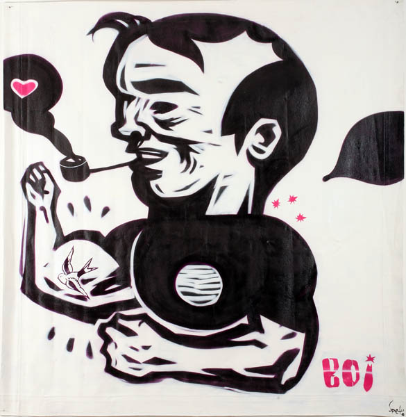 Speto  &nbsp -  <strong>Boi</strong> (<strong style = 'color:#635a27'></strong>)<bR /> Spraypaint on Canvas,   70 x 68 inches