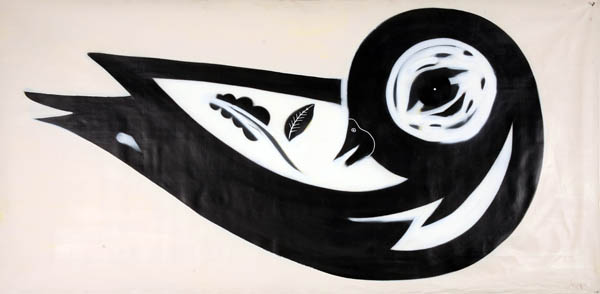 Speto  &nbsp -  <strong>Bird</strong> (<strong style = 'color:#635a27'></strong>)<bR /> Spraypaint on Canvas,    38 x 75 inches